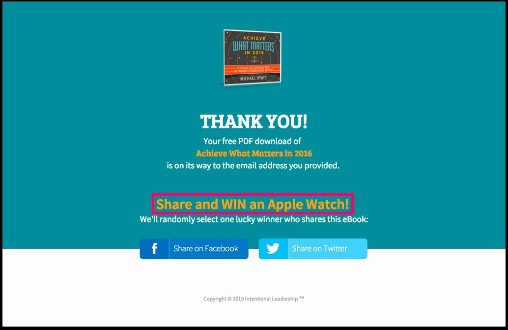 Thank you pages efectivas: Sorteos en redes sociales