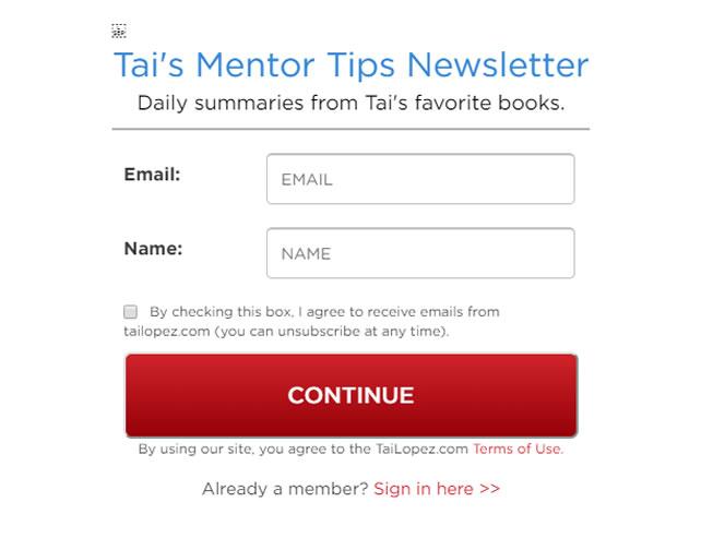 Tai Mentor newsletter para fidelizar