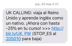 copys para SMS marketing: UK Calling