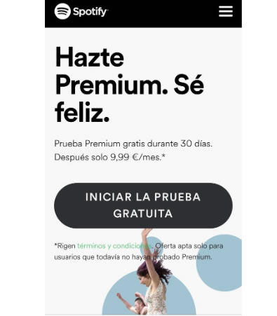 Landing pages para SMS marketing: Spotify