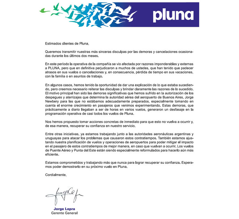 Carta de disculpa a los clientes de Pluna