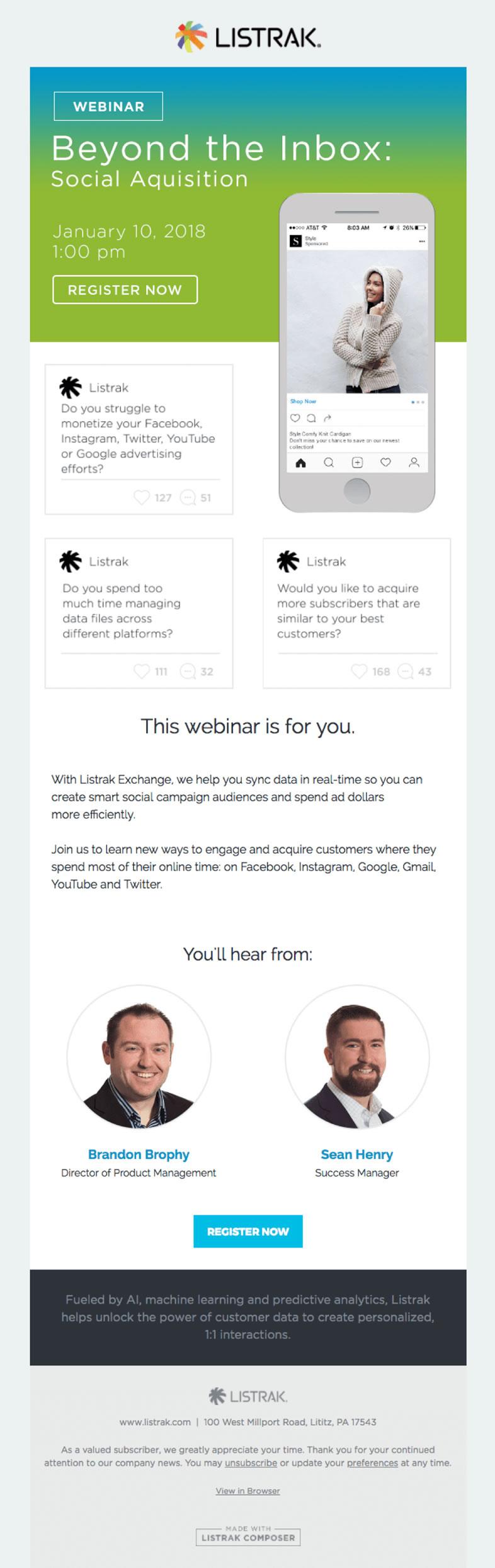 Newsletter que generan nuevos leads: Listrak