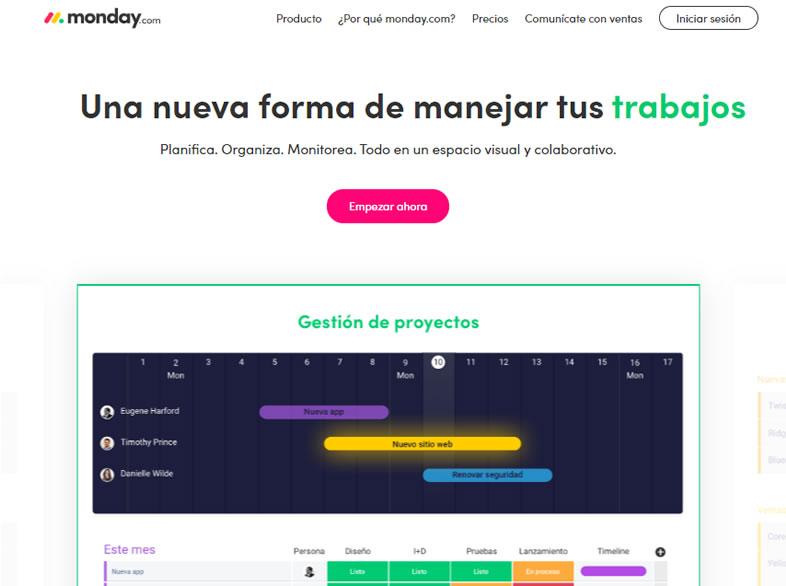 softwares de gestión de proyectos: Monday.com