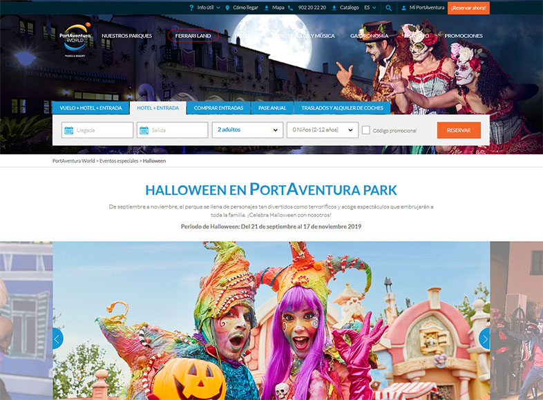 Calendario de marketing 2020: Landing page de port Aventura para Halloween