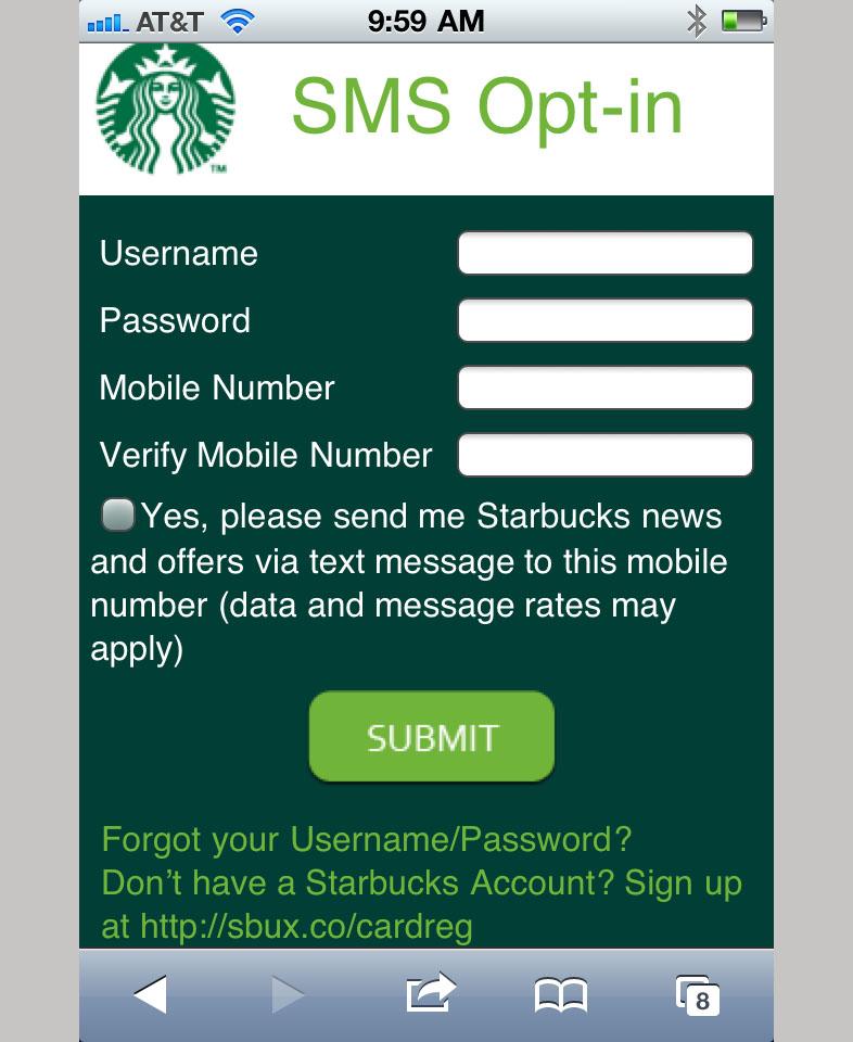 Formulario de inscripción de Starbucks