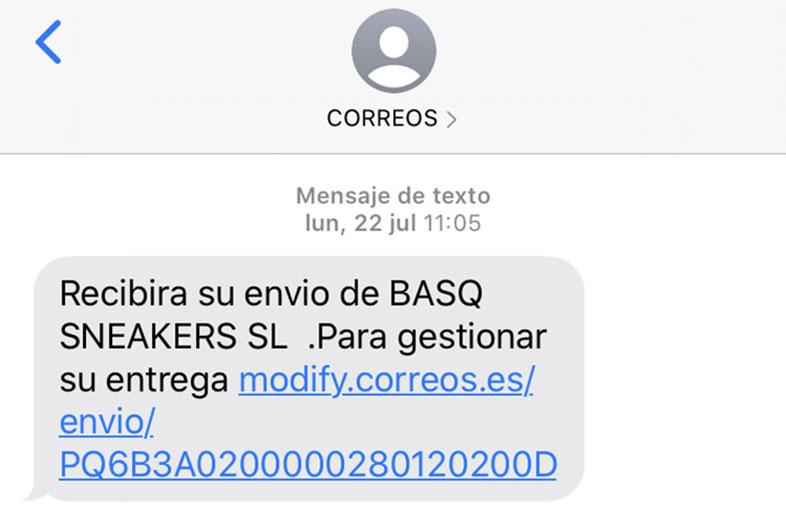 SMS Marketing para generar tráfico web: ejemplo de SMS se seguimiento de pedido