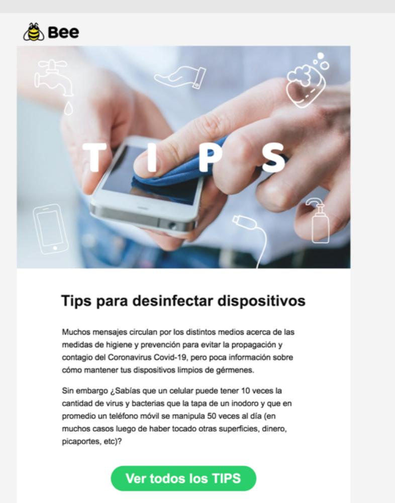 Campañas de email marketing en tiempos de coronavirus: Bee