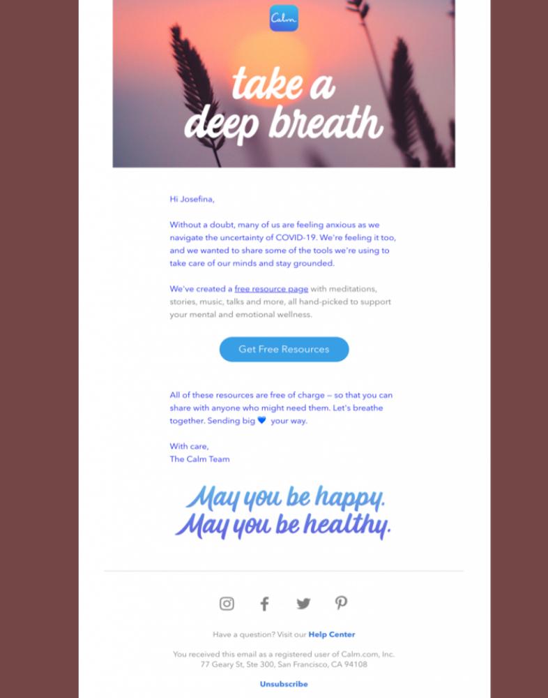Campañas de email marketing en tiempos de coronavirus: calm