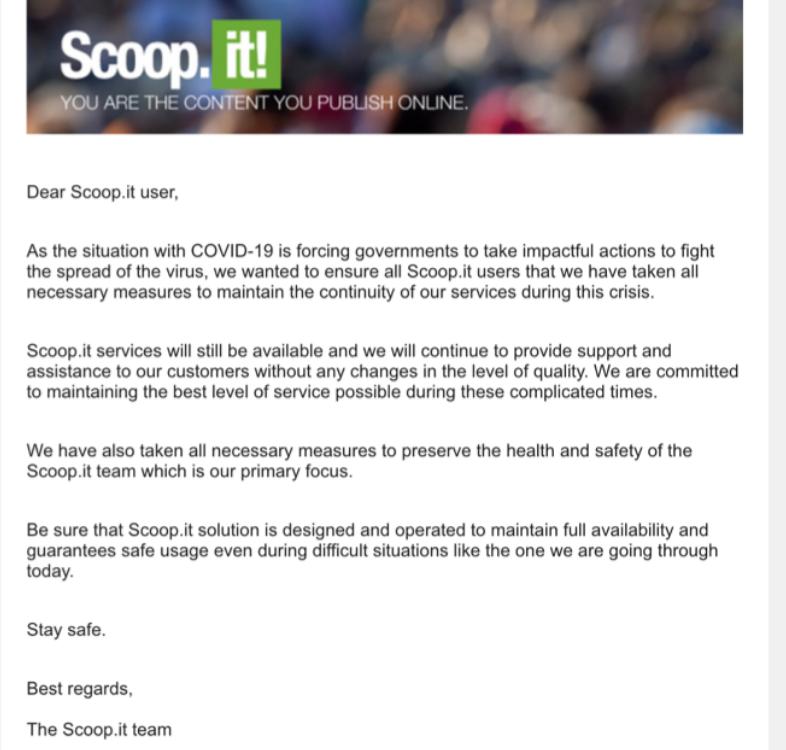 Scoop.It email dirigido a sus clientes por la crisis sanitaria