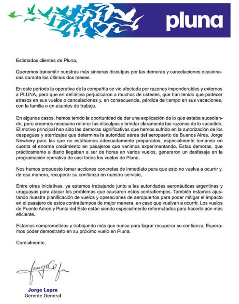 Carta de disculpas de Pluna