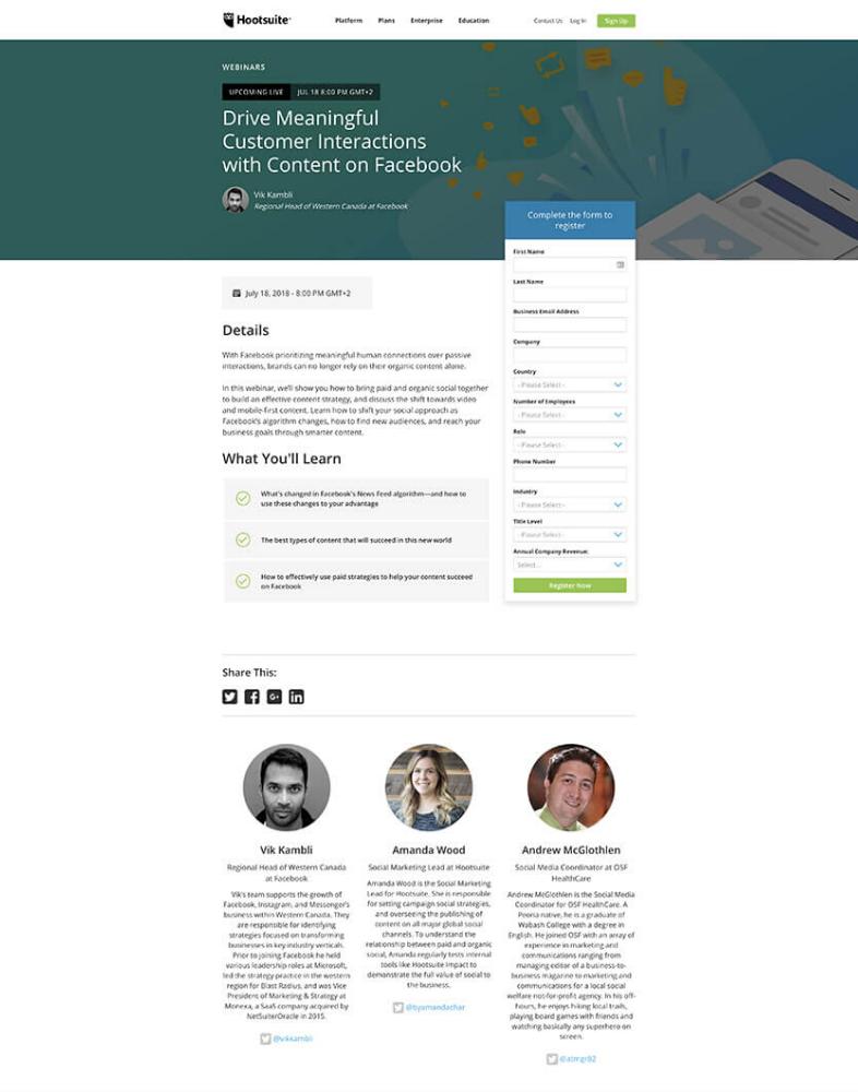 Hootsuite webinar landing page
