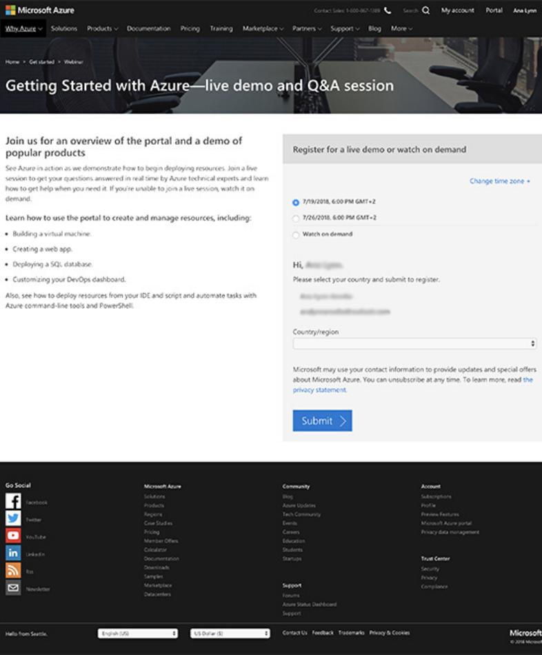 Microsoft Azure: landing webinar