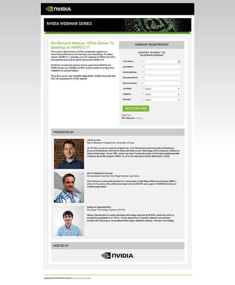Nvidia webinar landing page