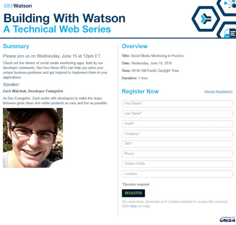 Landing page IBM Watson