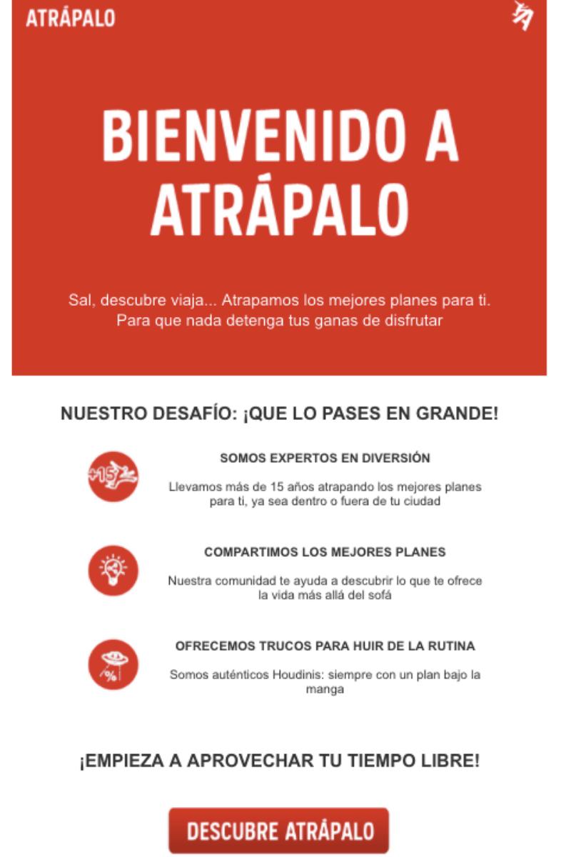 Correo de bienvenida de Atrápalo