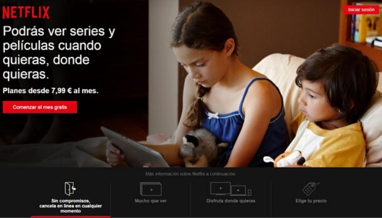 Landing page di Netflix