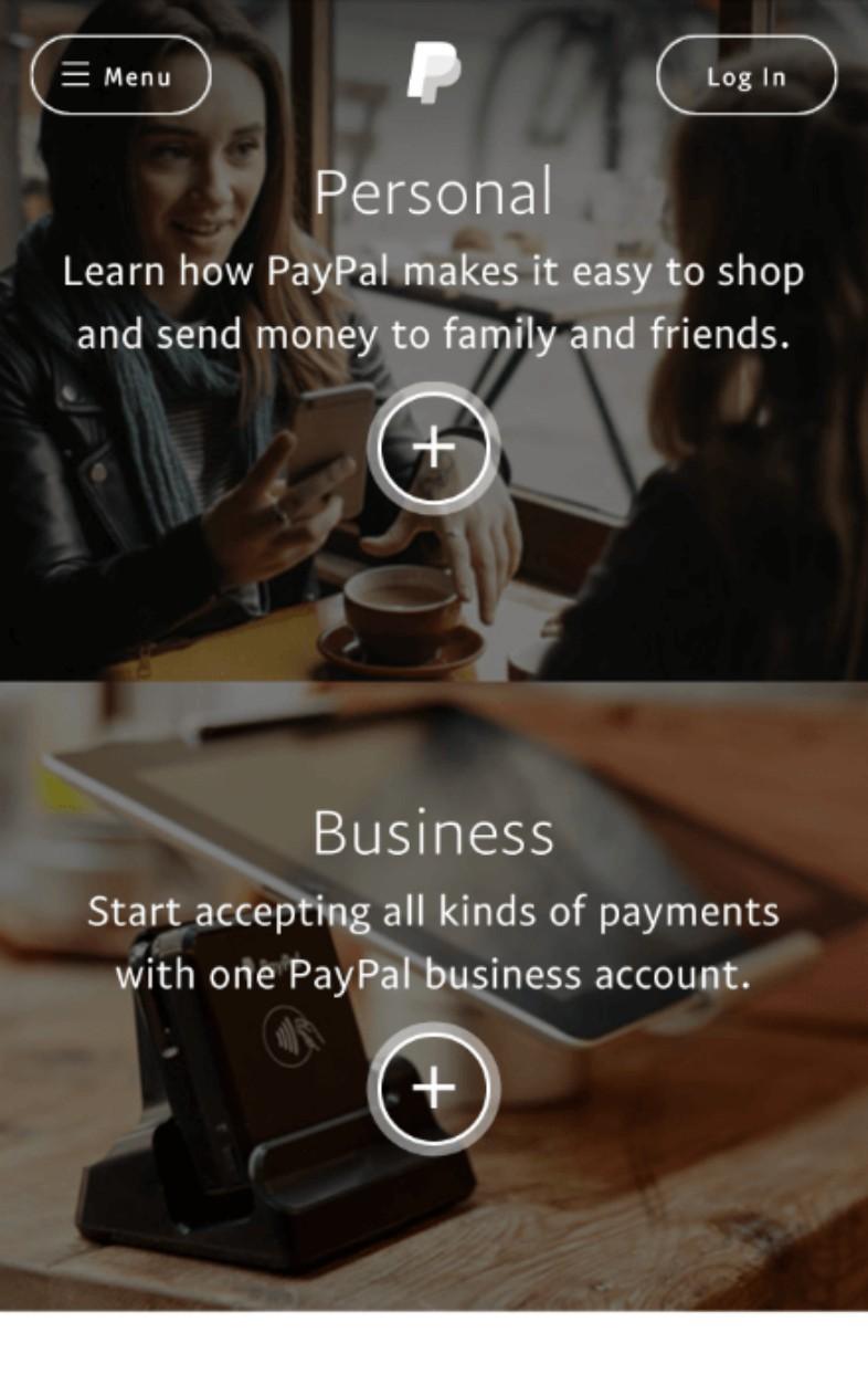 Paypal landing page mobile