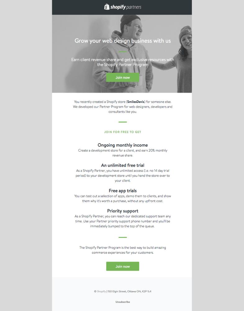 Shopify email B2B