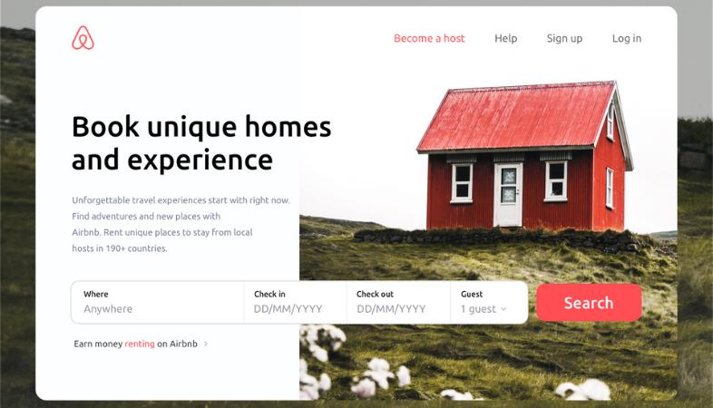 Página de aterrizaje de Airbnb