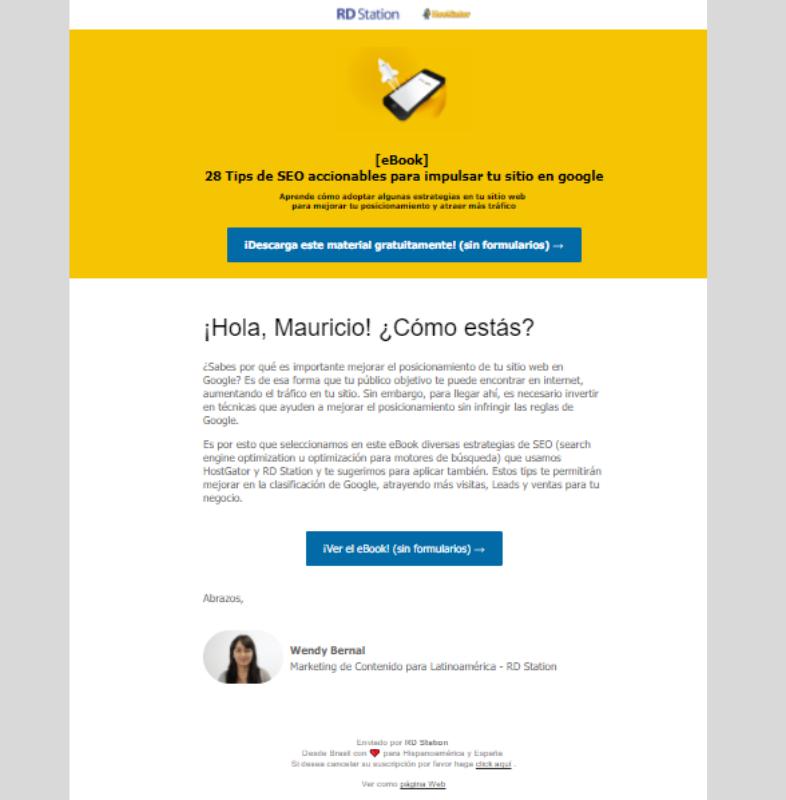 Email personalizado para ofrecer ebook