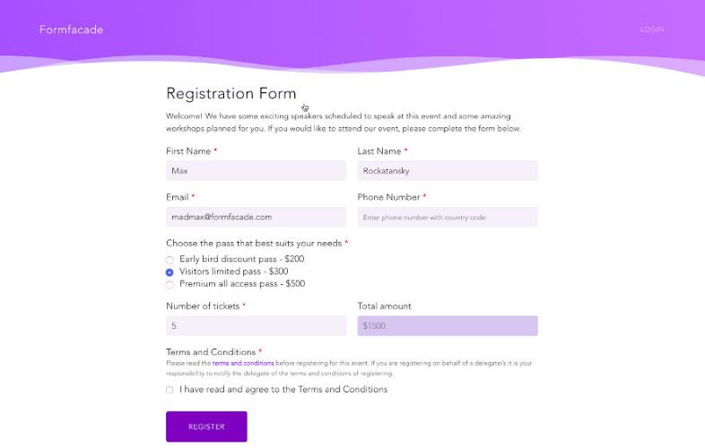 Modelo de formulario de registro