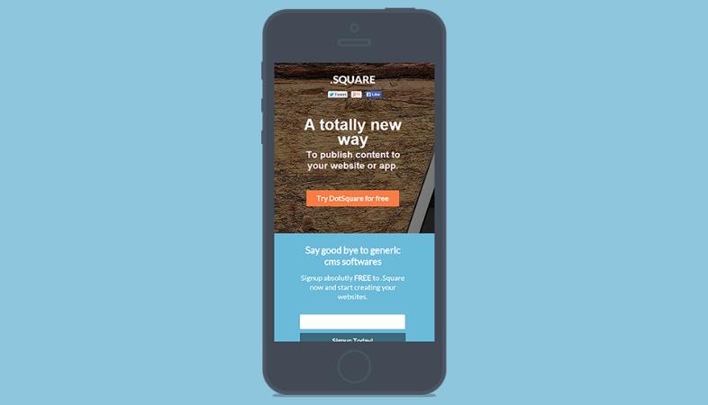 Design minimalista landing page mobile