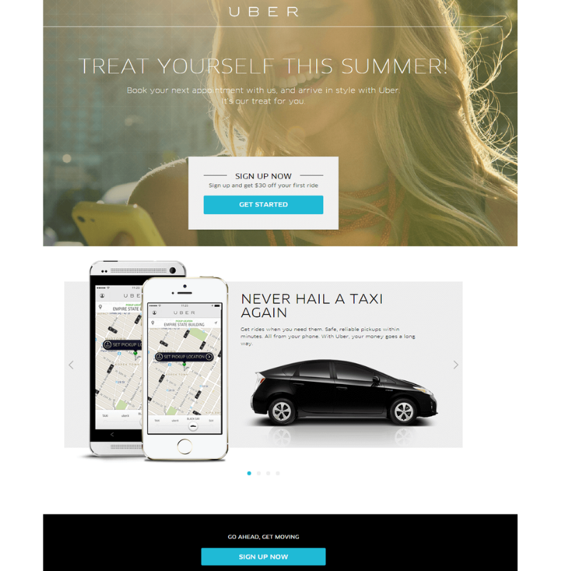 Landing pages vendedoras: Uber