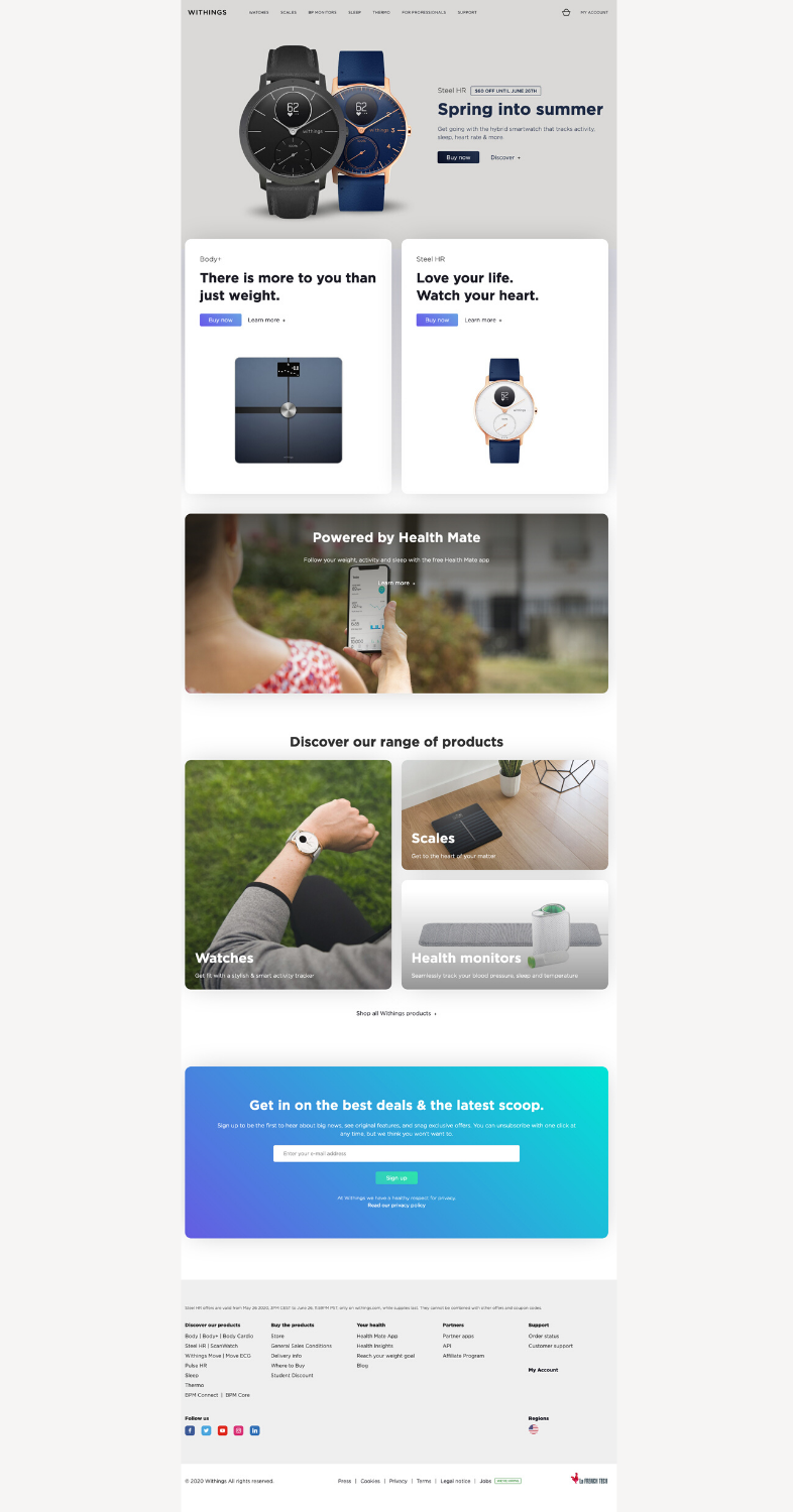 landing page Withings