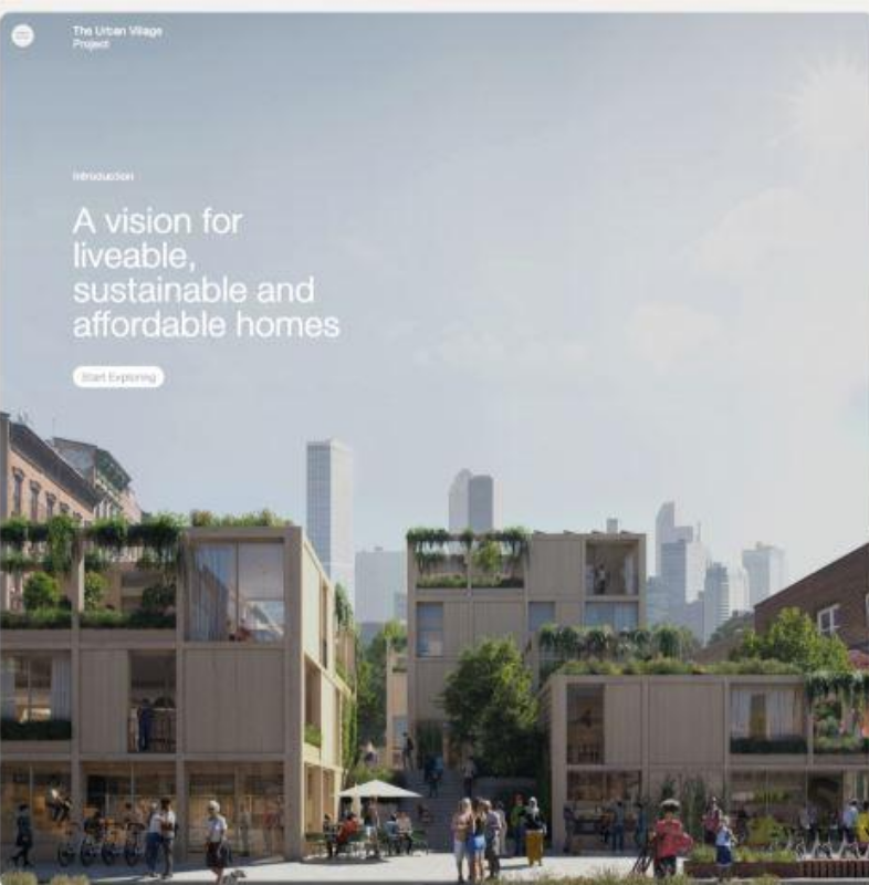 Landing page The Urban Village Project