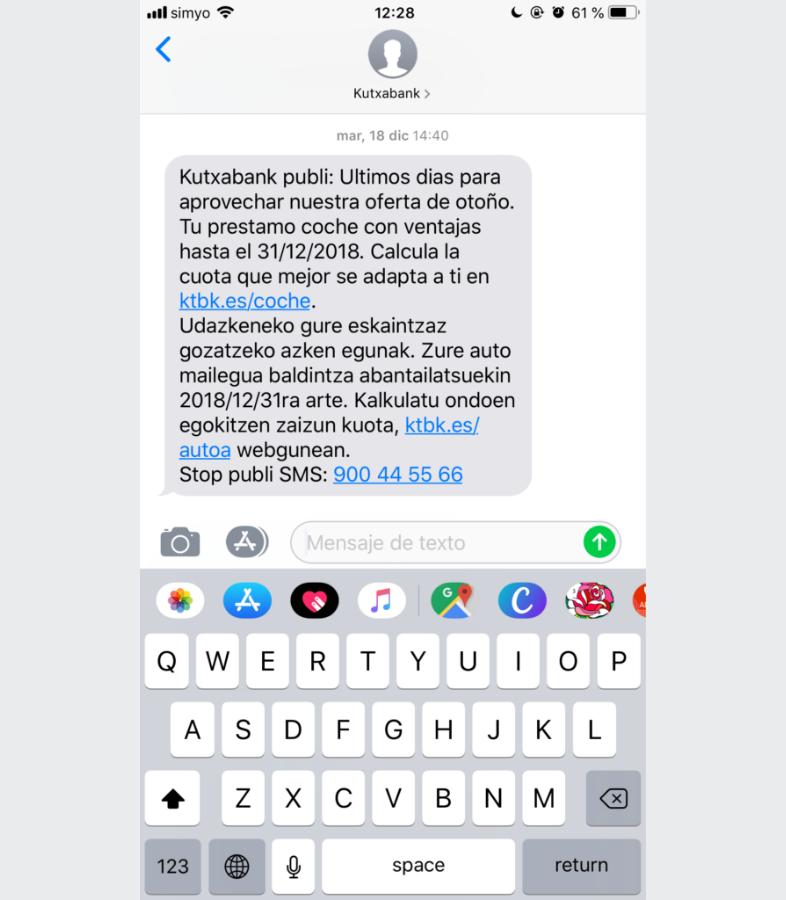 Enviar oferta limitada por SMS