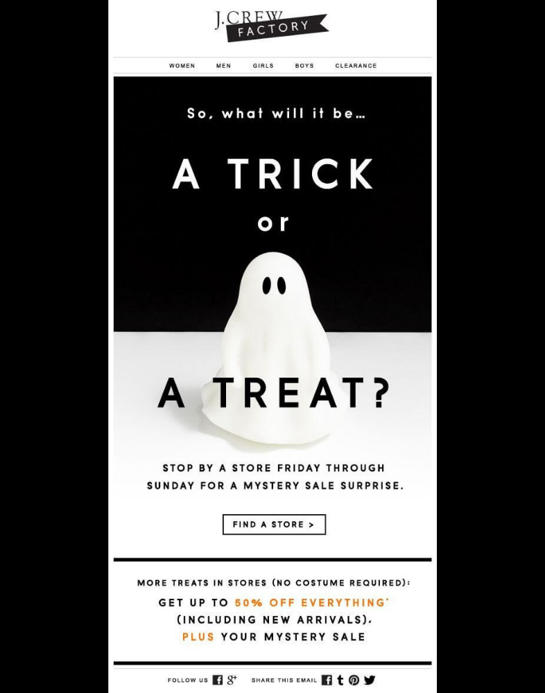esempio di Email di Halloween: J.Crew