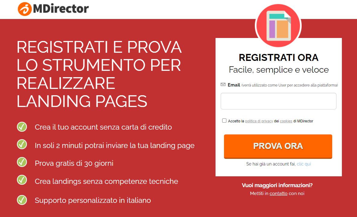 landing page per il tuo blog: MDirector
