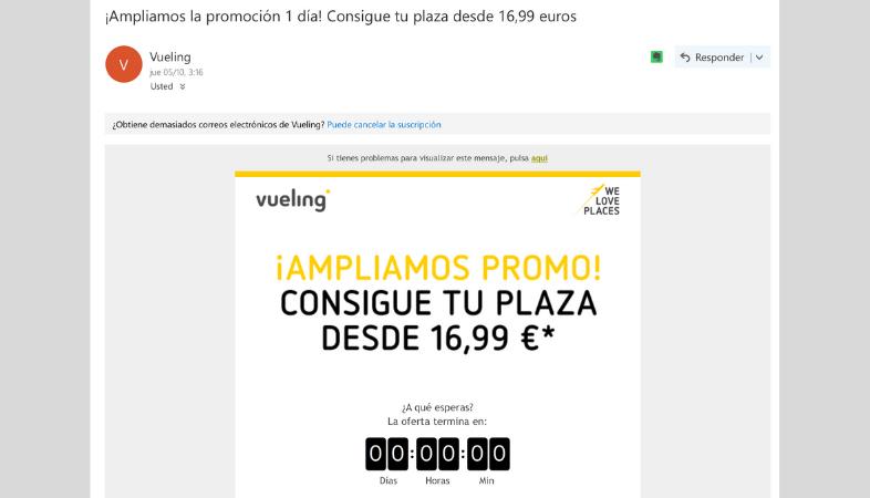 Ejemplo de email de promoción