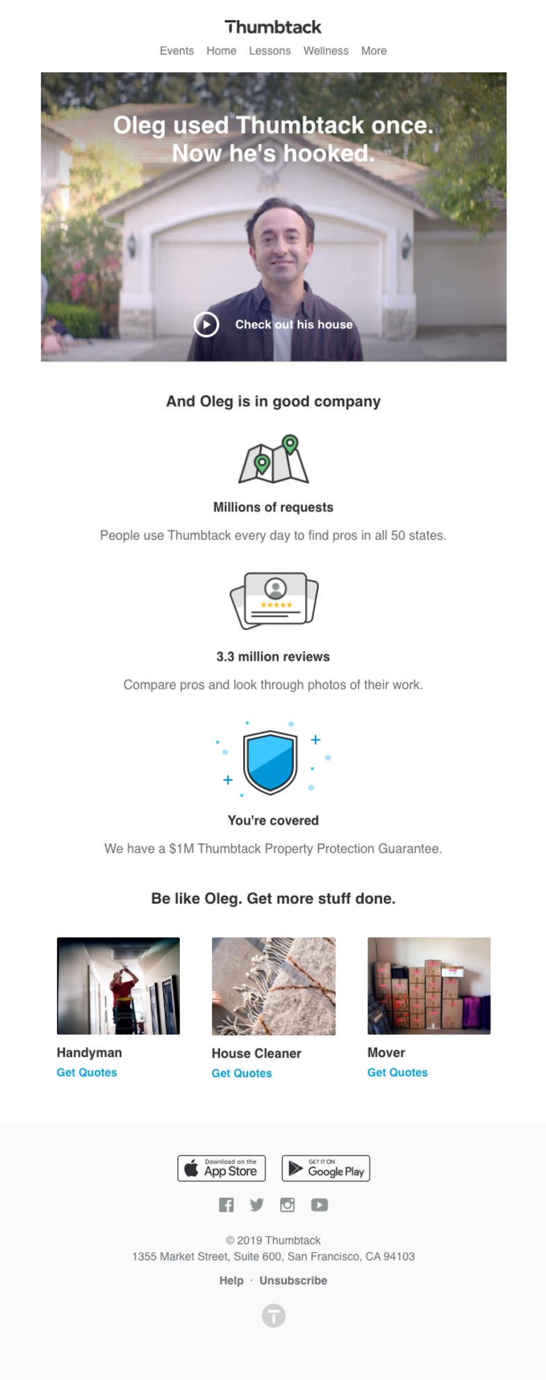 Branding email de Thumbtack