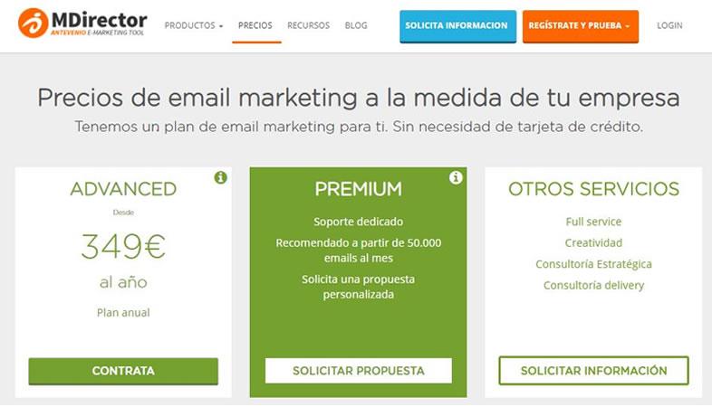 planes de precios herramienta email marketing profesional