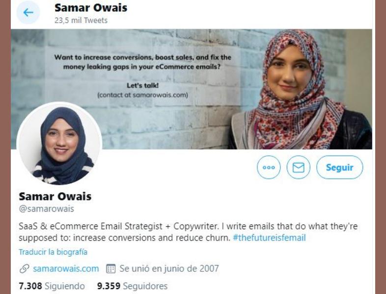 Samar Owais en Twitter
