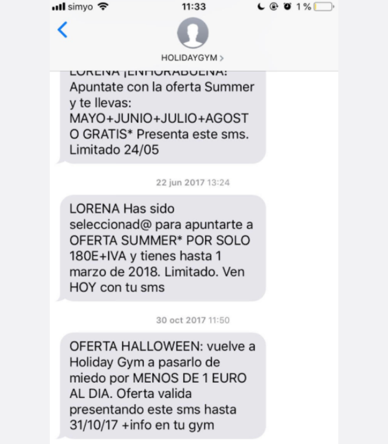 Exceso de mayúsculas en el SMS