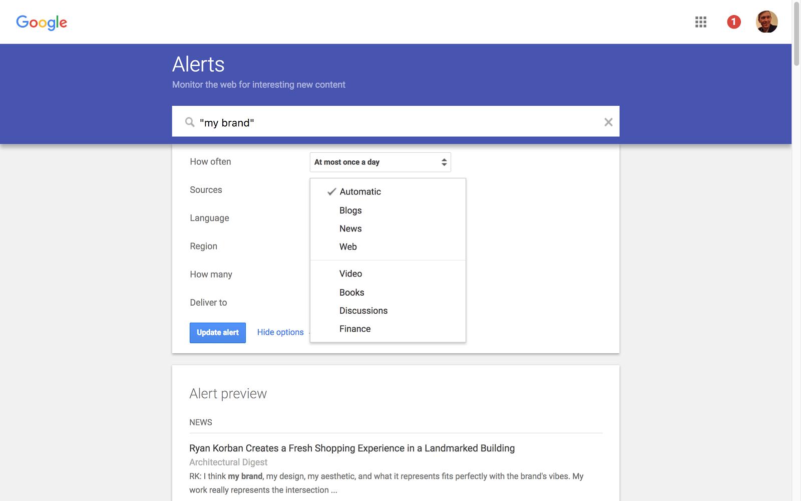 Avvisi sui motori di ricerca via e-mail