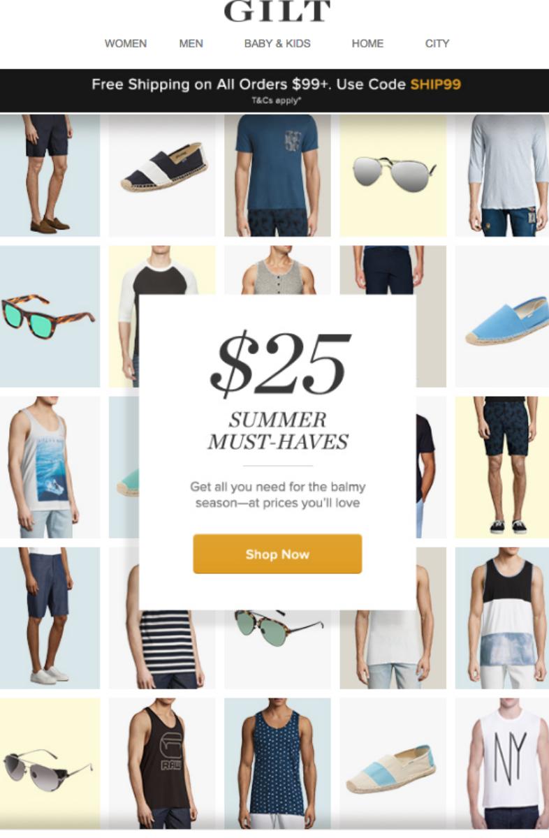 Campaña de email de rebajas de verano de Gilt