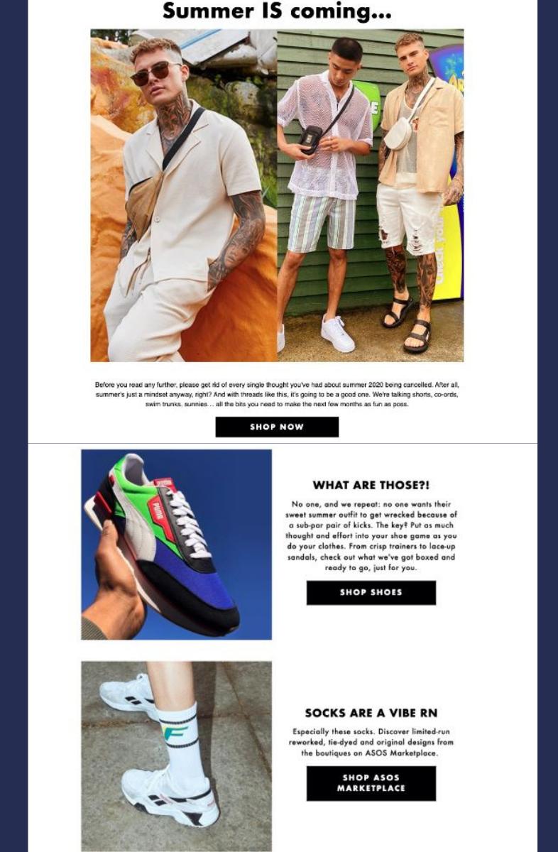 Campaña de email de rebajas de verano de ASOS