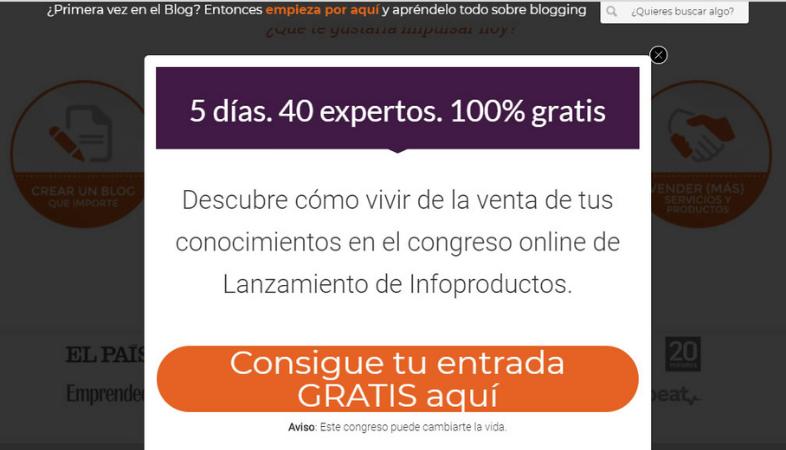 Aportar incentivos atractivos en los formularios pop-up
