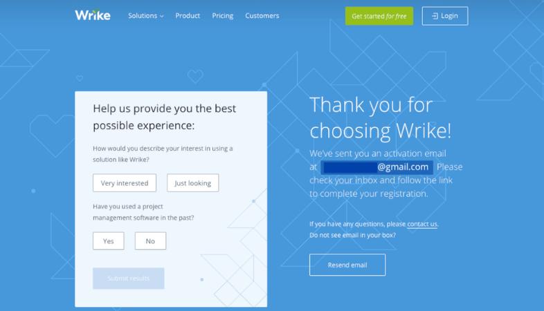 Encuestas para saber la experiencia del usuario de Wrike