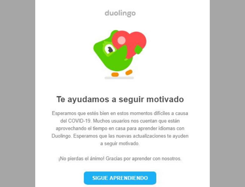 Ejemplo de campaña emocional de Duolingo