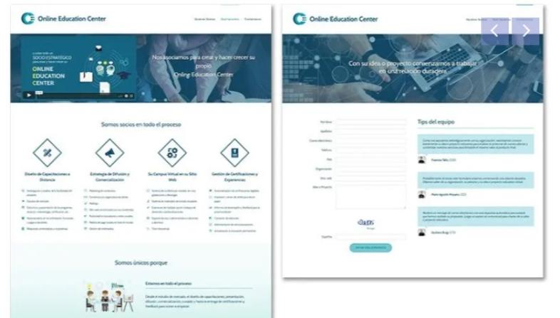 Ejemplo de landing page para el sector educativo de Online Education Centre