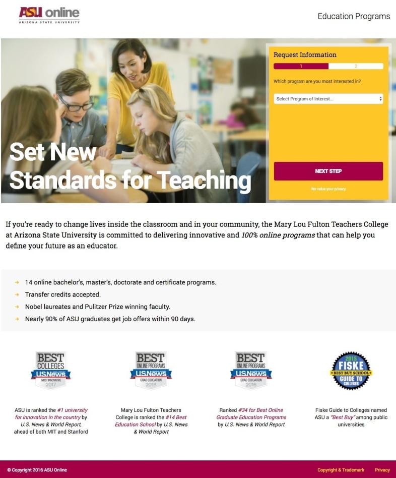 Ejemplo de landing page para el sector educativo de Arizona State University