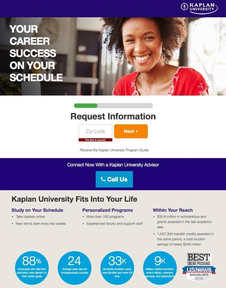 Ejemplo de landing page para el sector educativo de Kaplan University