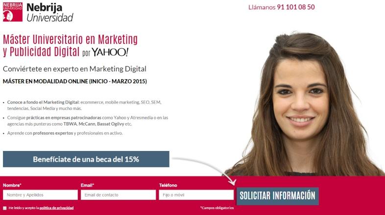 Ejemplo de landing page para el sector educativo Universidad de Nebrija